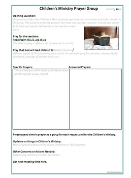 Prayer Ministry Template