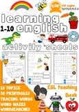ESL Children's printable worksheets 1-10 Very Beginners