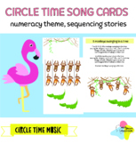 Children sequencing story and number song cards, stick puppets included