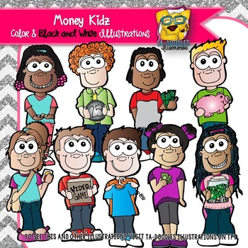 Children with Money and Financial Literacy Math Commercial Use Clipart
