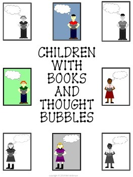 Children with Open books and thought bubbles