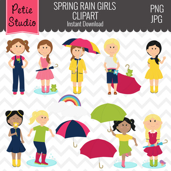 Children with Umbrellas, Rainy Day Clipart, Weather Clipart - Spring105