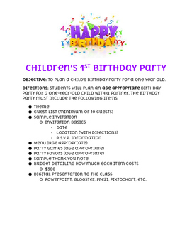 Children's 1st Birthday Party