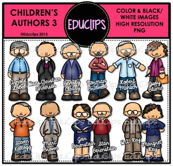 Children's Authors 3 Clip Art Bundle {Educlips Clipart}