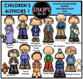 Children's Authors Clip Art Bundle {Educlips Clipart}