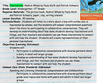 Children's Lit Kit: Socially Including Students with Autism- Pedro's Whale