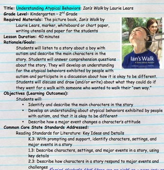 Children's Literature Kit: Socially Including Students with Autism- Ian's Walk