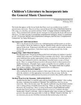 Children's Literature to Integrate into Music Classes