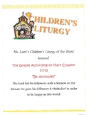 """Childrens Liturgy of the Word -- """"Bee Attitudes"""""""