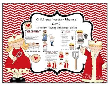 Children's Nursery Rhymes & Puppet Sticks Set 2