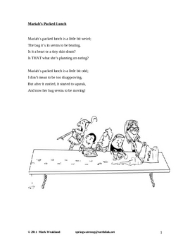 Children's Poetry - Mariah's Packed Lunch
