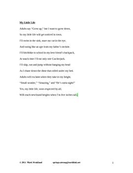 Children's Poetry - My Little Life