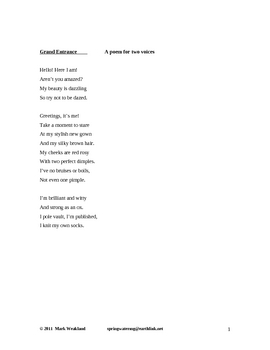 Children's Poetry (for two voices) - Grand Entrance
