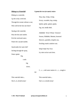 photograph relating to Poems for Two Voices Printable titled Poems For 2 Voices Worksheets Instruction Materials TpT