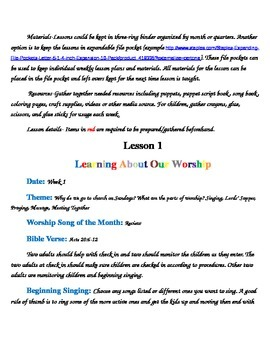 Children's Worship Lesson Plans and Set Up