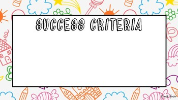 Childrens drawing learning intention & success criteria