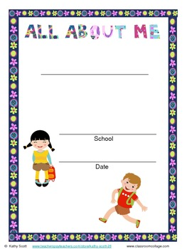 "Child's ""All About Me"" Single Point in Time/Year End Momento Parent Gift English"