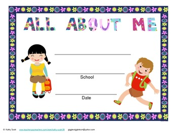 """Child's School Journal """"All About Me"""" Beginning & End of Year Parent Gift Englis"""