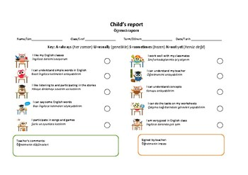 Childs report for ESL students (English&Turkish)