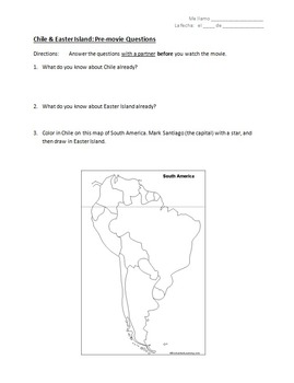 Chile & Easter Island - Movie Worksheets