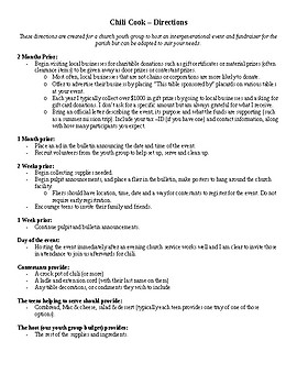 Chili Cook Off Fundraiser Directions