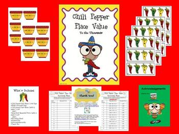 Chili Pepper Place Value Math Center (to the thousands)