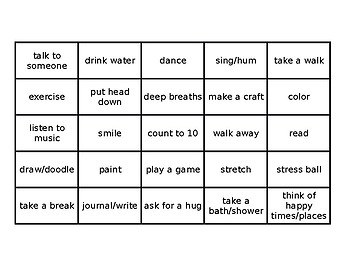 Chill Out Bingo - Ways to Cool Down When Angry/Upset