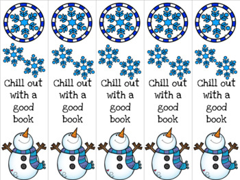 Chill out snowman bookmark 2 blue/purple