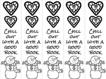 Chill out snowman bookmark blue