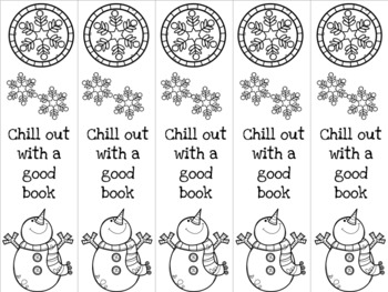 Chill out snowman bookmark 2 blue