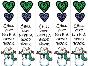 Chill out snowman bookmark green/blue