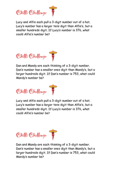Chilli Challenge word problems