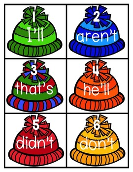 Chilly Contractions Literacy Center L.2.2.c Matching Game