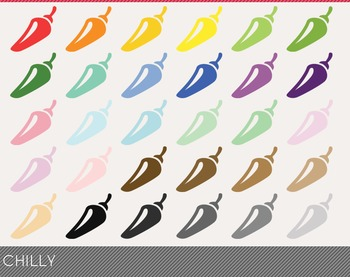 Chilly Digital Clipart, Chilly Graphics, Chilly PNG, Rainb