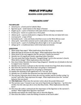 Chimamanda Ngozi Adichie's Purple Hibiscus - Reading Guide Questions & More!