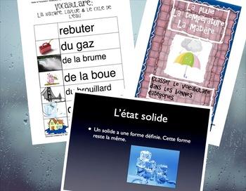 Chimie: La matière: Présentation & Vocabulaire / MATTER PPT AND VOCAB FRENCH
