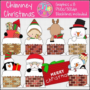 Chimney Christmas Clip Art CU OK