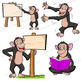 Chimpanzee Clip Art | Chimp with signs