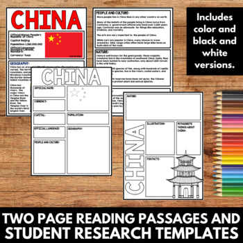 China Country Study Research Project Templates and Graphic Organizers