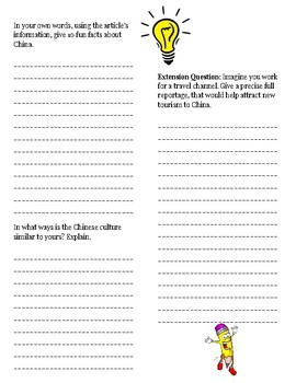 (ASIA GEOGRAPHY)China: 50 Minute Reading Activity Guide