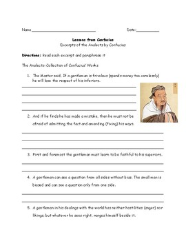 China Confucianism Expects Worksheet