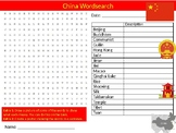 China Country Wordsearch Sheet Starter Activity Keywords Geography