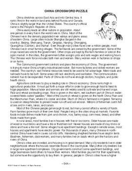 China Crossword Puzzle, WORLD HISTORY LESSON 84/100, Reading, Crossword & Quiz