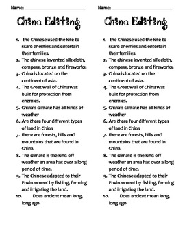 China -Editing Sheet