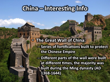 China PowerPoint - Geography, History, Government, Geography, Culture, and More