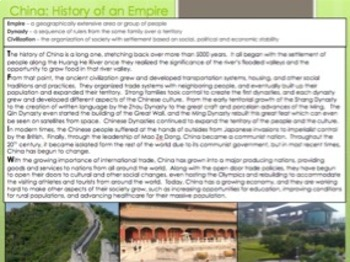 China - History of an Empire Reading & Question Homework Assignment