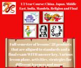 China, Japan, Middle East, India, Mandela, Religions, and