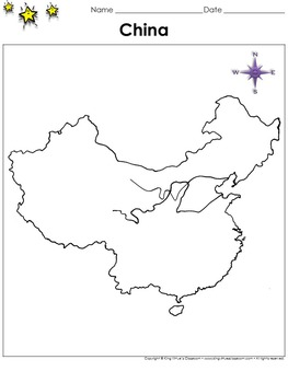 China Map - Blank - Full Page - Country - Portrait - King Virtue's Classroom