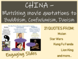 China - Matching movie quotations to Buddhism, Confucianism, Daoism