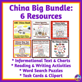 China Big Bundle of Writing, Reading, Grammar, Wordsearch Activities & Clipart